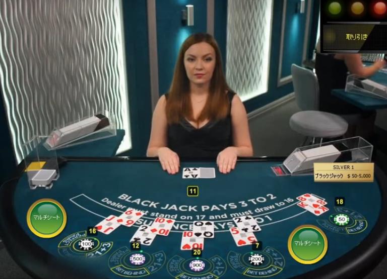 ライブカジノプレイ画面